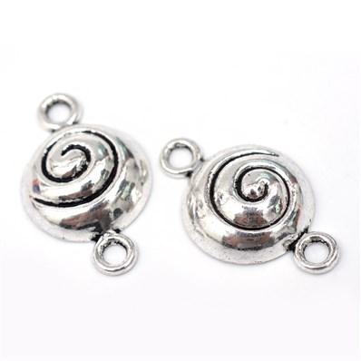 Flat Round Tibetan Style Alloy Links, Cadmium Free & Nickel Free & Lea