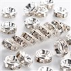 Brass Rhinestone Beads, Grade A, Silver, Rondelle, Clear, 8mm in diameter, 3.5mm thick, hole: 2mm