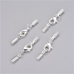 Copper Lobster Claw Clasps, Silver Color, 7mmx35mm