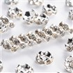 Brass Rhinestone Spacer Beads, Grade A, Wavy Edge, Silver Metal Color, Rondelle, Crystal, 6mm in diameter, 3mm thick, hole: 1mm