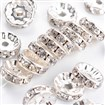 Brass Rhinestone Spacer Beads, Grade A, Straight Flange, Silver Metal Color, Rondelle, Crystal, 10mm in diameter, 4mm thick, hole: 2mm