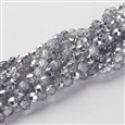 Glass Beads Strands, Plated With Silver, Faceted Round, about 6mm in diameter, hole: 1mm(GF6MMC01S)