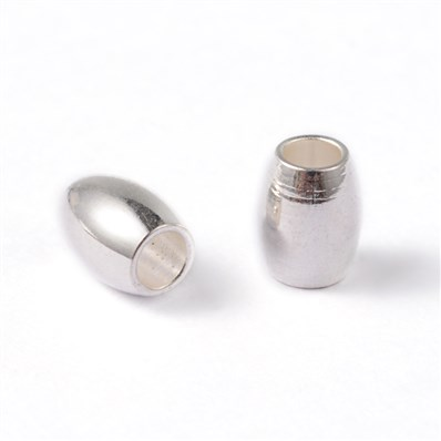 Oval 304 Stainless Steel Beads, Silver, 4mm wide, 5mm long, hole: 2mm