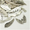 Tiben Style Pendants, Wing, Antique Silver, 5~30mm wide, 16~55mm long, 2~2.5mm thick, hole: 1~4mm
