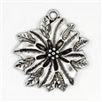 Flower Alloy Pendants, Tibetan Style, Lead Free & Cadmium Free, Antique Silver, 21mm long, 19mm wide, 3mm thick, hole: 1.5mm(TIBEP-GC127-AS-RS)
