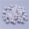 Letter U White Letter Acrylic Cube Beads, Size: about 6mm wide, 6mm long, 6mm high, hole: 3.2mm, about 300pcs/50g(K-X-PL37C9308-U)