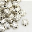 Tibetan Style Alloy Beads, Lead Free & Cadmium Free, Flower, Antique Silver, 7mm long, 7mm wide, 2.5mm thick, hole: 1.5mm