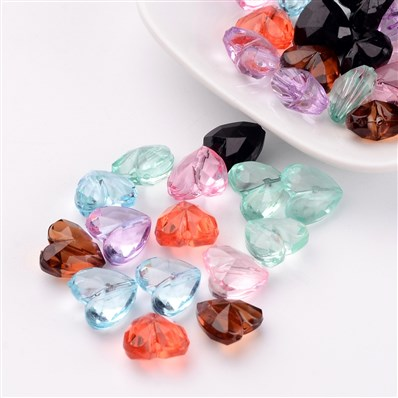 Transparent Acrylic Beads, Faceted, Mixed Color, Heart, 12x12.5x8mm