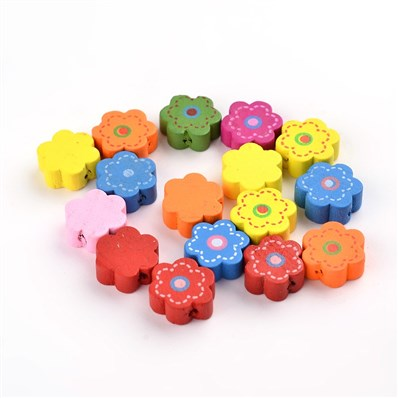 Wood Beads, Flower, Multicolor, 14.5mmx5mm