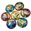 Handmade Cloisonne Beads, Flat Round, Mixed Color, 19mm in diameter, 8mm thick, hole: 1mm