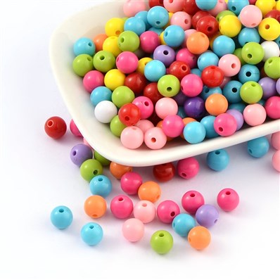 Round Acrylic Beads, Pony Beads, Opaque Beads, Mixed Color, 8mm in dia