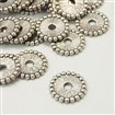 Tibetan Style Bead Spacers, Lead Free and Cadmium Free, Flat Round, Antique Silver, 12mm in diameter, 2mm thick, hole: 2.mm
