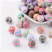 Handmade Polymer Clay Beads, Round, Mixed Color, 12mm in diameter, hole: 2mm