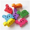 Tortoise Buttons with 2-Hole, Wooden Buttons, Mixed Color, 18mm long, 12mm wide
